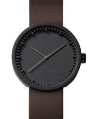 Herrklocka med svart boett och brunt läderarmaband