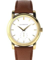 Ljusbrunt läderarmband herrur clairette watches
