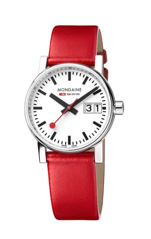 Mondaine armbandsur rött läderarmband
